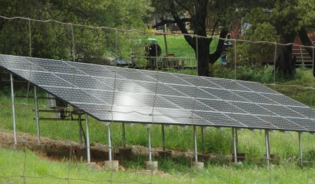 ground standing tilted solar panels